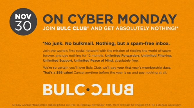 This Cyber Monday, join Bulc Club and get absolutely nothing!