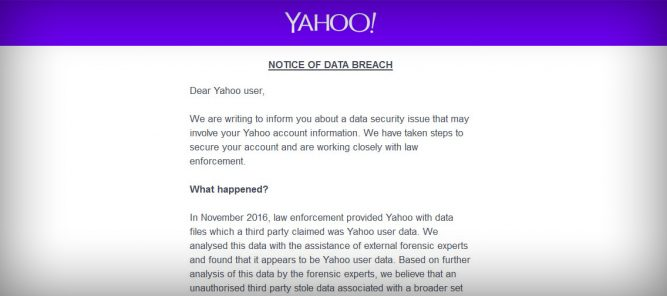 Yahoo Data Breach Email Notification