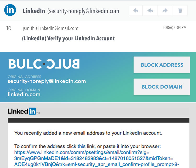 LinkedIn - Verification email