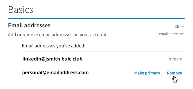 LinkedIn - Remove Email Address