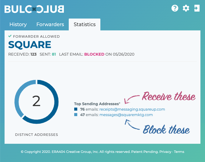 Need to provide your email address to get a receipt from a POS System? Use a Bulc Club Forwarder instead. Bulc Club lets you keep the receipt, but block the spam.